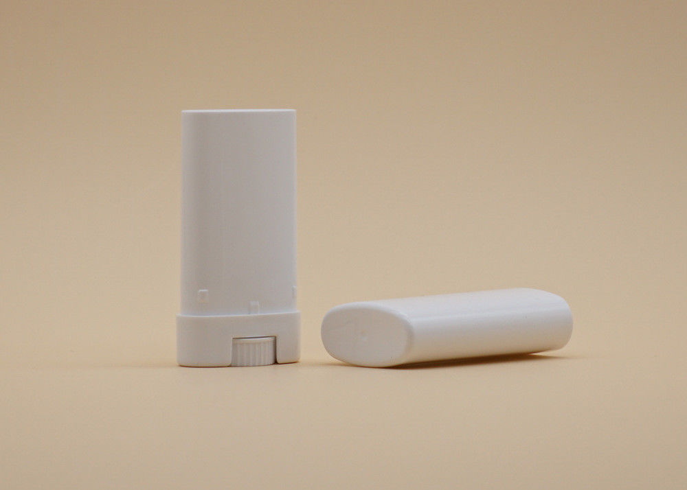 15g White Oval Lip Balm Tubes , Empty Lip Balm Containers Hot Stamping Printing