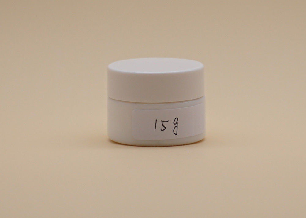 15g Cosmetic Cream Containers , White Ceramic Glass Face Cream Jars PETG Screw Cap