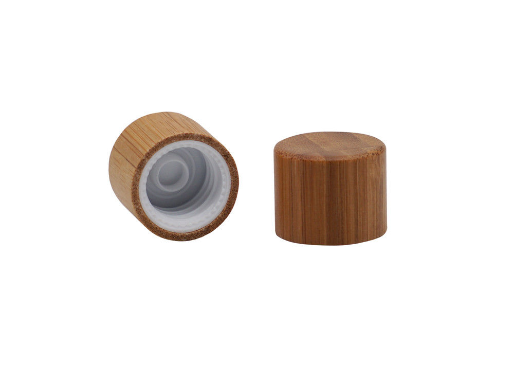 18 / 410 Plastic Screw Caps With Bamboo Covered For Essential Oil Bamboo Screw Cap