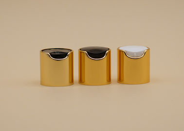 Shiny Gold Disk Top Cap , Bottle Cap Closure 24mm Neck For Body Lotion