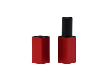 Square Aluminum Red Empty Lipstick Tubes Container 3.5g With Magnet Case